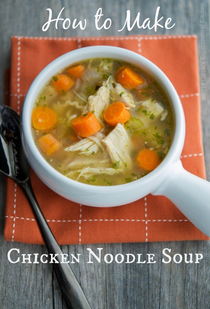 Learn how to make homemade Chicken Noodle Soup using the carcass of a whole roaster chicken. It's simple to make & a staple during those cold winter months.