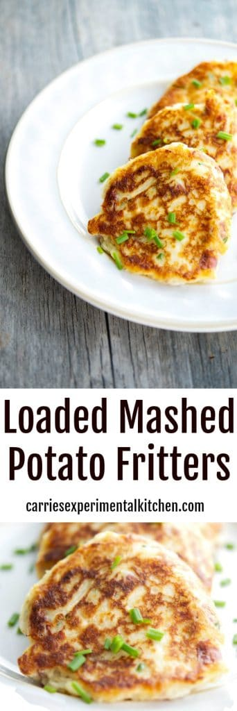 Turn leftover mashed potatoes into a new tasty side dish with all of your favorite toppings into one delicious potato fritter.