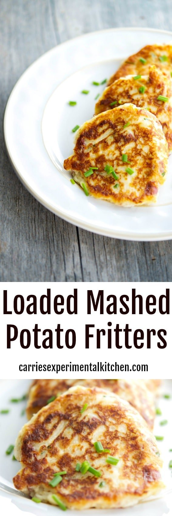 Turn leftover mashed potatoes into a new tasty side dish with all of your favorite toppings into one delicious potato fritter. #potato #sidedish #mashedpotatoes #leftovers