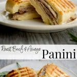 Roast Beef, Asiago cheese, and rosemary mayonnaise on grilled Ciabatta bread is a tasty way to utilize leftover roast beef for lunch or dinner.