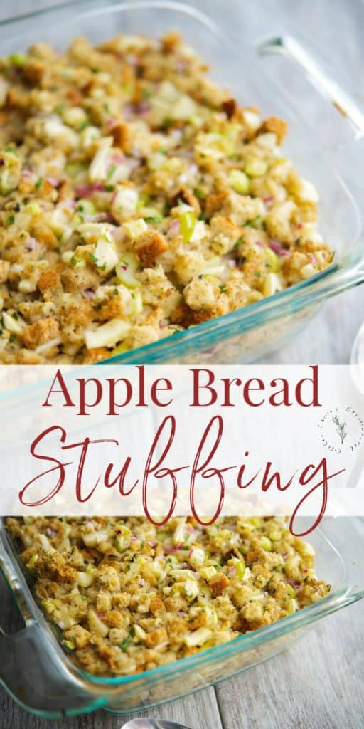 This Apple Bread Stuffing made with herbed stuffing mix, fresh parsley and sage, celery, onions and apples is so delicious and easy to make.