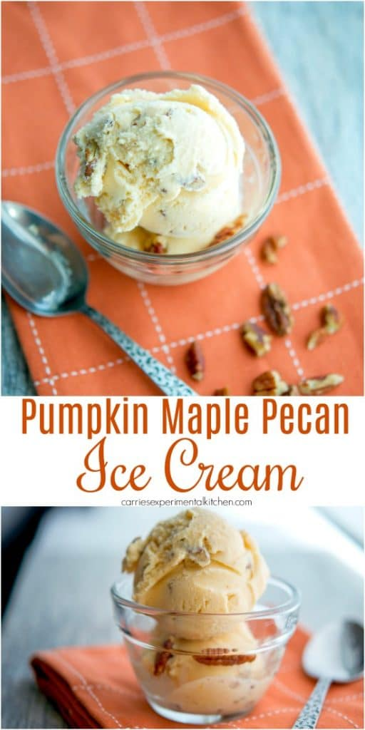 Pumpkin Maple Pecan Ice Cream made with wholesome ingredients like half and half, milk, sugar, pumpkin, maple syrup and pecans.