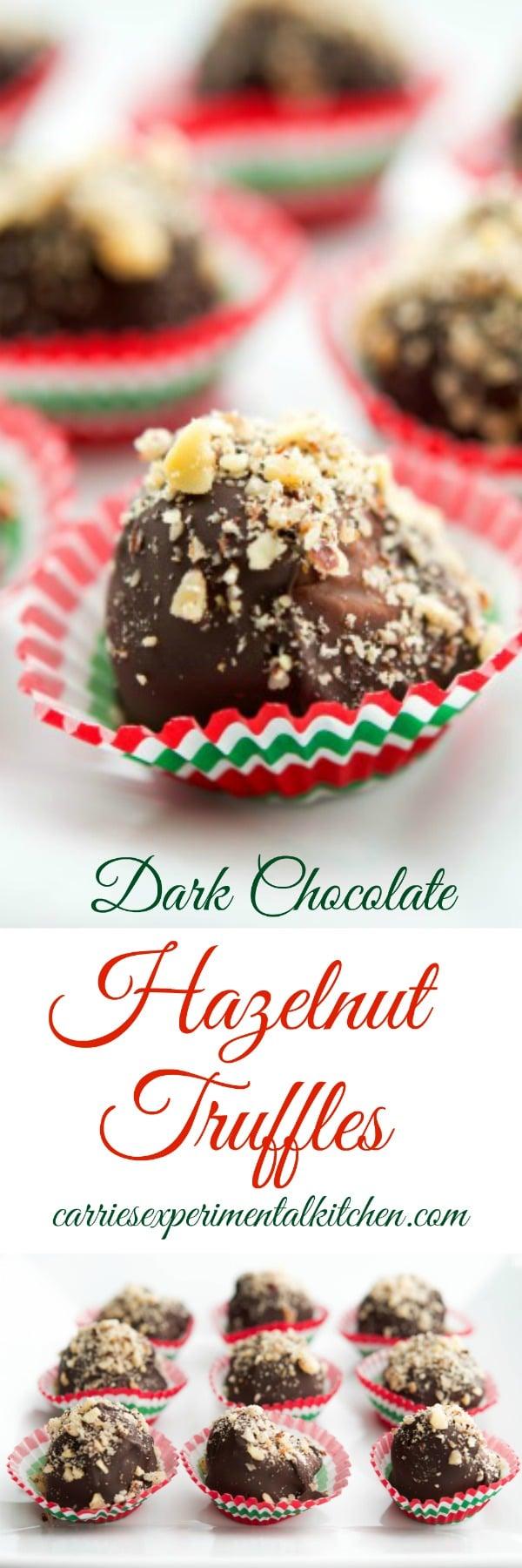Creamy chocolate hazelnut spread mixed with chopped hazelnuts; then dipped in melted dark chocolate and topped with more chopped hazelnuts. #dessert #hazelnut #truffles #holidaybaking