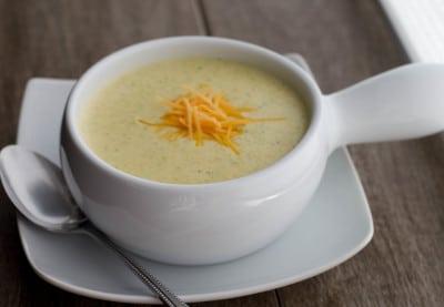 copycat panera broccoli and cheese soup closeup