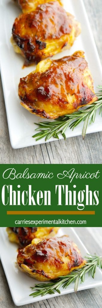 Apricot preserves combined with balsamic vinegar; then brushed on chicken thighs and baked is a deliciously simple weeknight meal idea that the entire family will love. #chicken #apricot #glutenfree #dairyfree