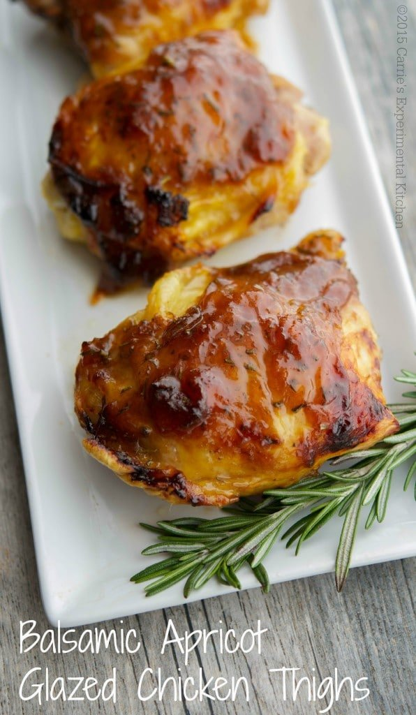 Apricot preserves combined with balsamic vinegar; then brushed on chicken thighs and baked is a deliciously simple weeknight meal idea that the entire family will love.