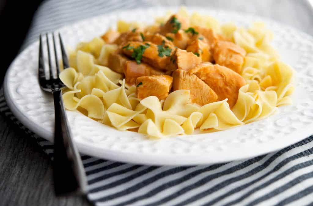 Chicken Paprikash over No Yolks Dumplings #onlynoyolks @kitchendailypin @noyolksnoodles
