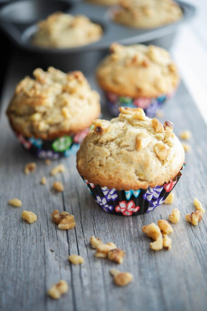 Jumbo Banana Walnut Muffins made with ripened bananas and chopped walnuts make a tasty on the go breakfast or afternoon snack.