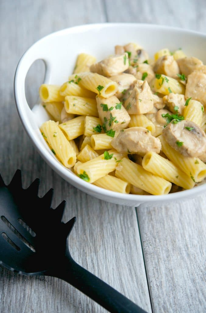 Enjoy the flavors you love about chicken marsala in this Low Fat Chicken Marsala Rigatoni made with boneless chicken breast, mushrooms & Marsala wine.