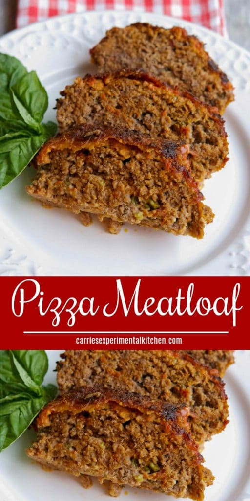 Pizza Meatloaf made with lean ground beef marinara sauce, mozzarella cheese and fresh basil. Great for a tasty, quick weeknight meal!