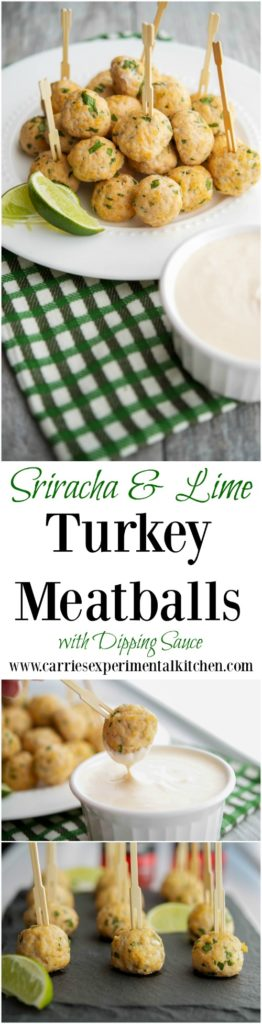 These Sriracha & Lime Turkey Meatballs with Dipping Sauce are delicious and healthy. They're tasty served for dinner, appetizer or game day snacking.  #appetizer #turkey #groundturkey #meatballs #gameday