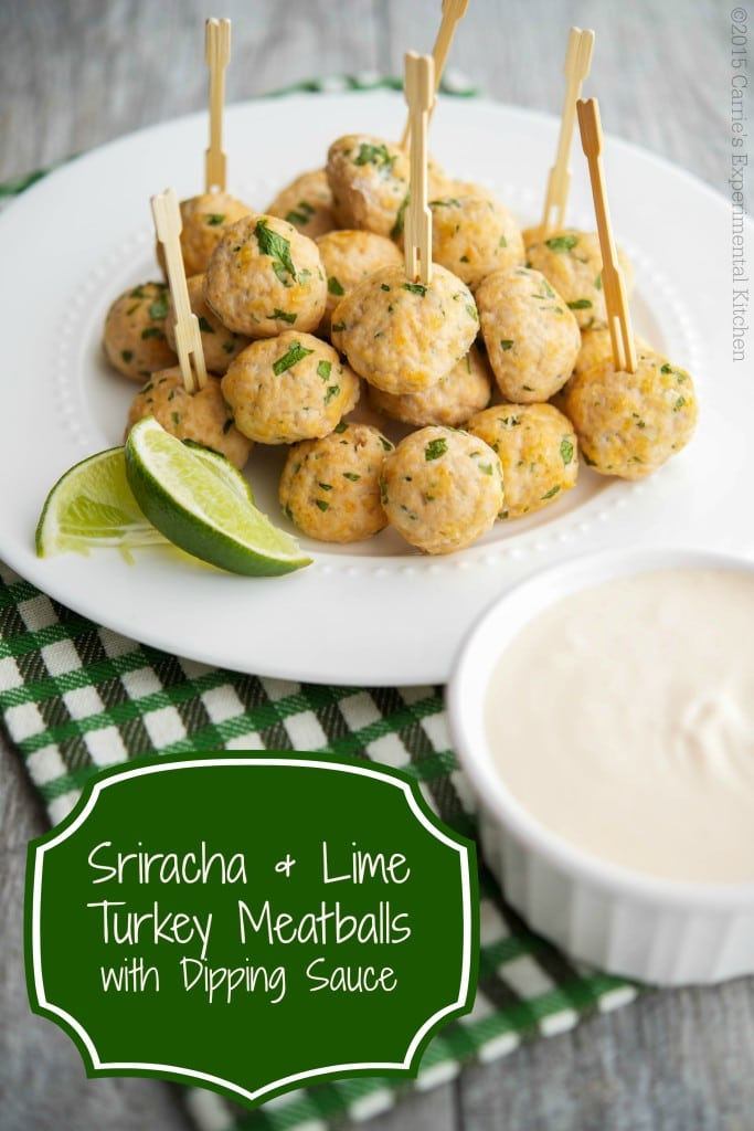Sriracha & Lime Turkey Meatballs with Dipping Sauce - Carrie's Experimental Kitchen #appetizer #turkey #gameday