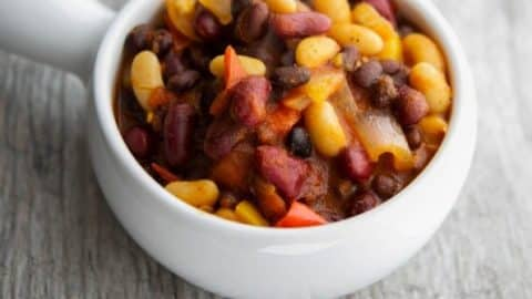 Beans are healthy and so versatile; especially in recipes like this Slow Cooker Vegetarian Three Bean Chili made with three types of beans, tomatoes, peppers and onions.