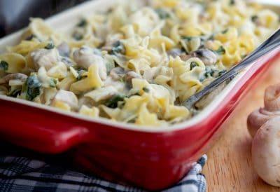 Creamy Chicken, Spinach & Mushroom Casserole-Horizontal