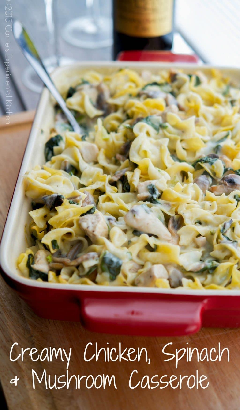 Creamy Chicken, Spinach & Mushroom Casserole - Carrie's Experimental ...
