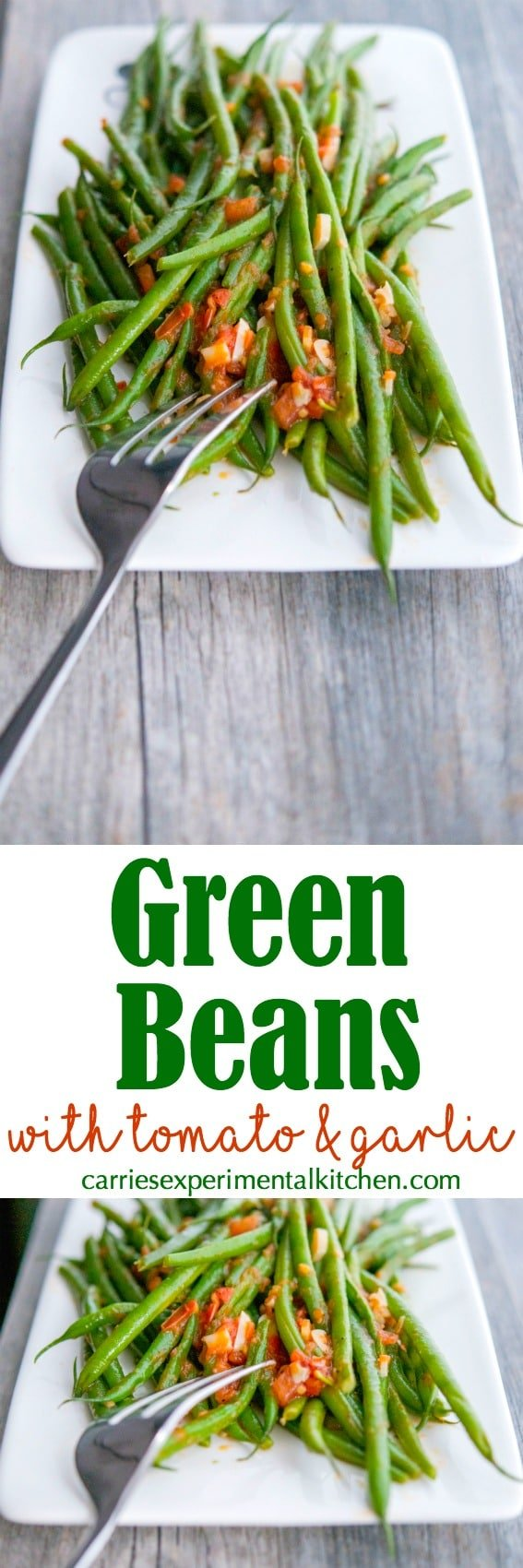 Green beans sautéed with fresh garlic and tomatoes in a light broth make the perfect accompaniment to any meal. #vegetables #greenbeans #vegetarian #tomatoes #garlic