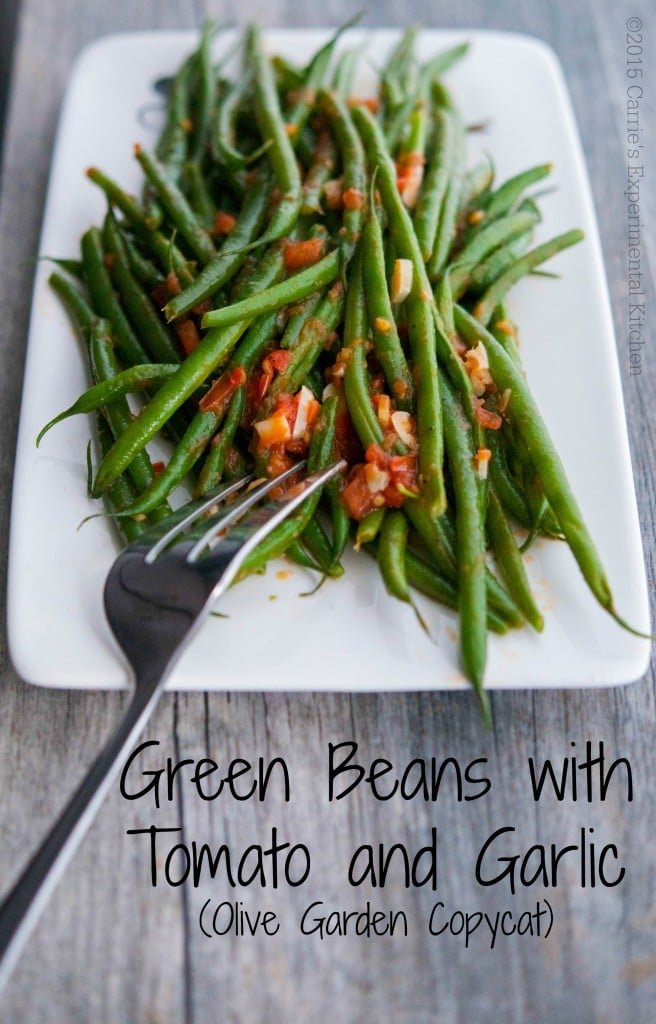 Green Beans with Tomato and Garlic (Olive Garden Copycat) - Carrie's Experimental Kitchen #greenbeans #vegetables #copycatrecipes