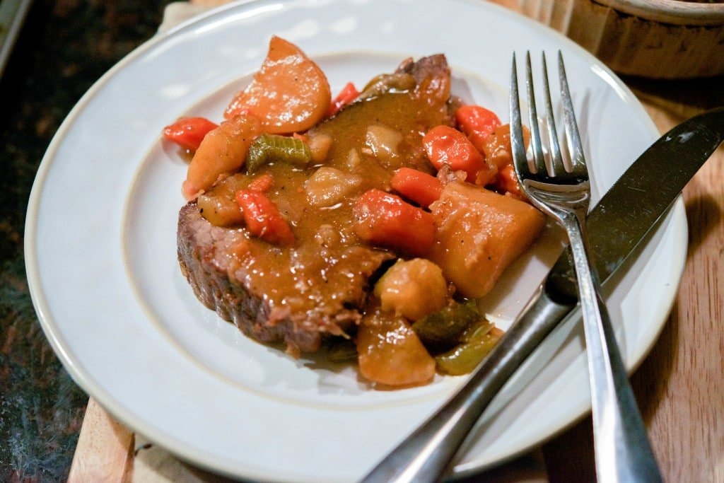 Homestyle Pot Roast in a Dutch Oven horizontal