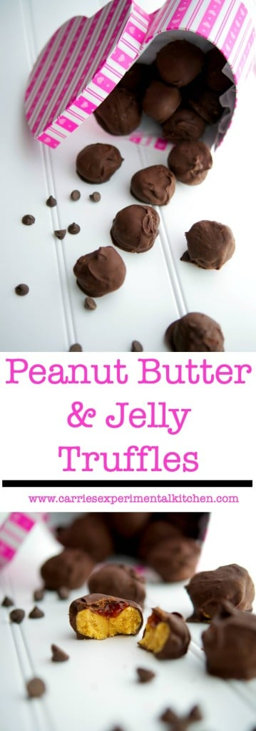 Show someone how much you love them with these Peanut Butter & Jelly Truffles made from creamy peanut butter and your favorite jelly; then dipped in dark chocolate.