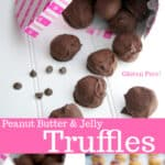 Peanut Butter & Jelly Truffles made from creamy peanut butter and your favorite jelly; then dipped in dark chocolate.