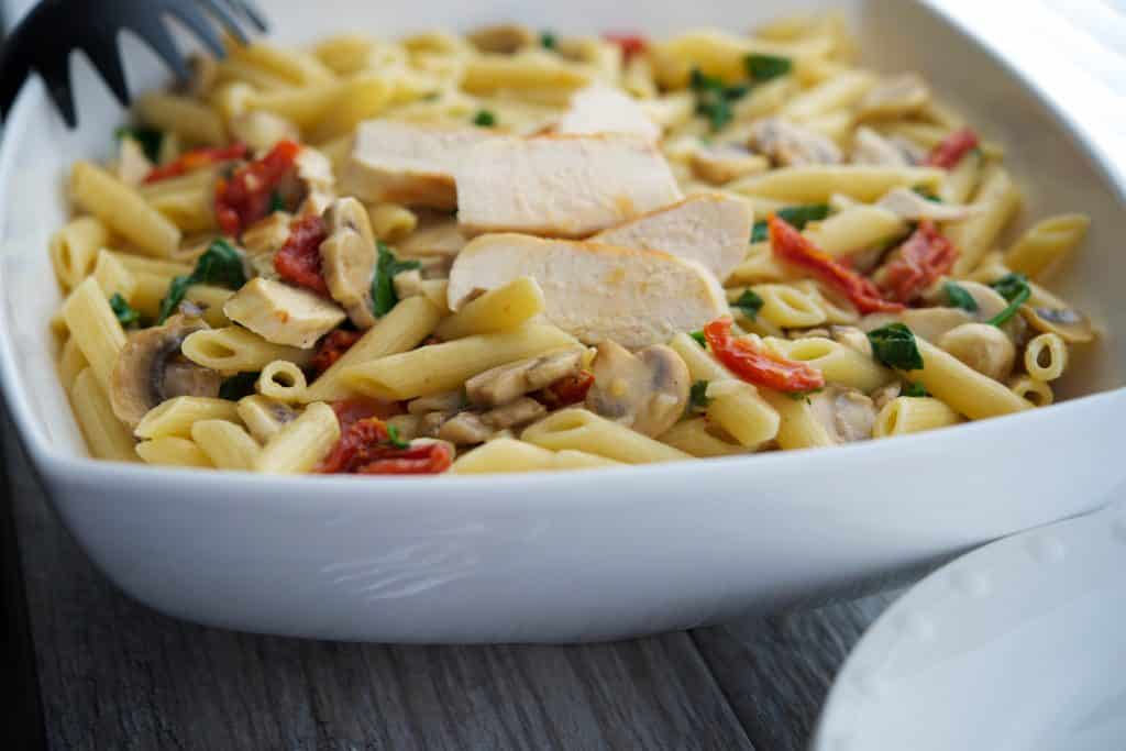 Penne with Grilled Chicken in a Lemon Butter White Wine Sauce Closeup
