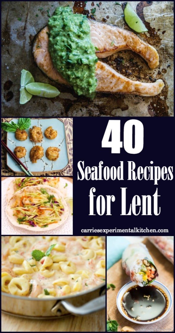 If you partake in no meat on Friday's during the Christian holiday of Lent, these 40 Seafood Recipes will help give you a little menu planning inspiration. #seafood #lent