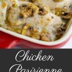 Chicken Parisienne made with mushroom soup, white wine, mushrooms, scallions & Greek yogurt.