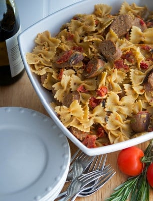Farfalle with Italian Sausage and Vegetables in a white wine goat cheese sauce