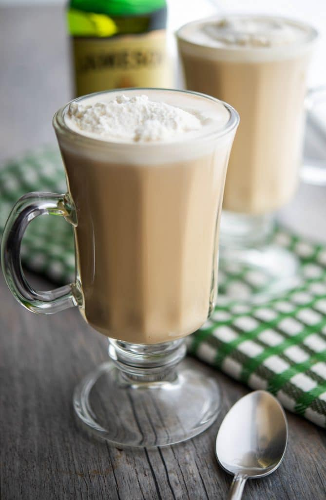 Warm your soul with this recipe for homemade Irish Coffee made with freshly brewed coffee and Irish whiskey; then topped with a dollop of whipped cream.