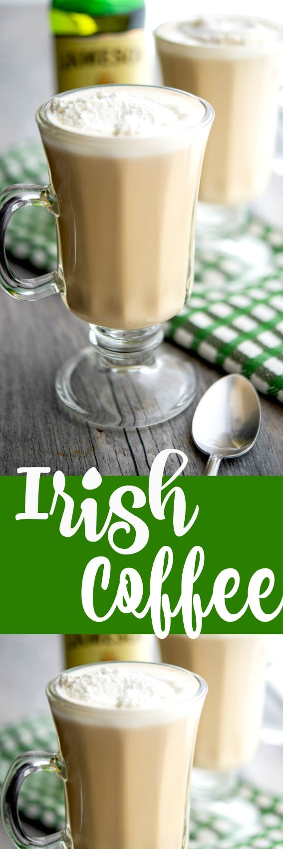 Warm your soul with this recipe for homemadeIrish Coffee made with freshly brewed coffee and Irish whiskey; then topped with a dollop of whipped cream. #coffee #irish #homemade #whiskey #stpatricksday