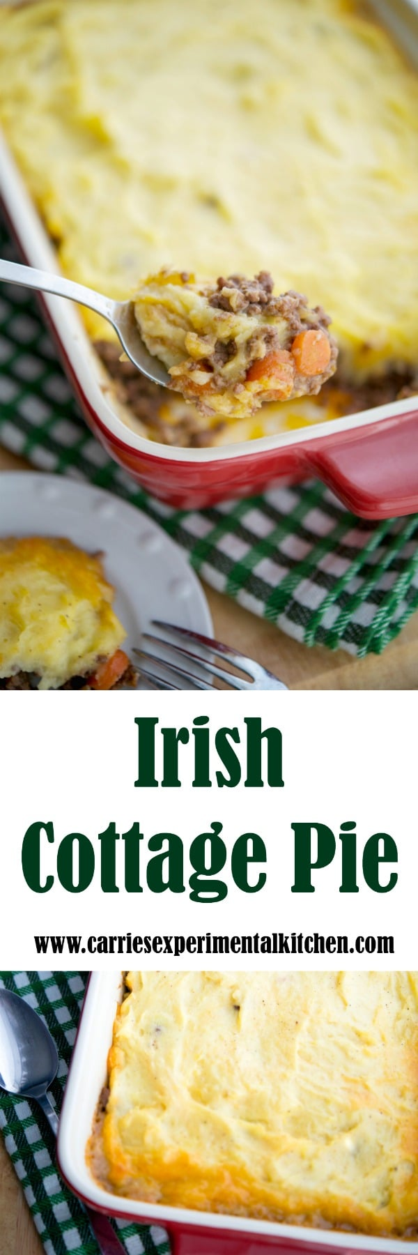 Whether you're celebrating St. Patrick's Day or just want a deliciously easy casserole dish, this Irish Cottage Pie made with ground beef and cheesy mashed potatoes will be a definite crowd pleaser. #beef #irish #casserole #stpatricksday