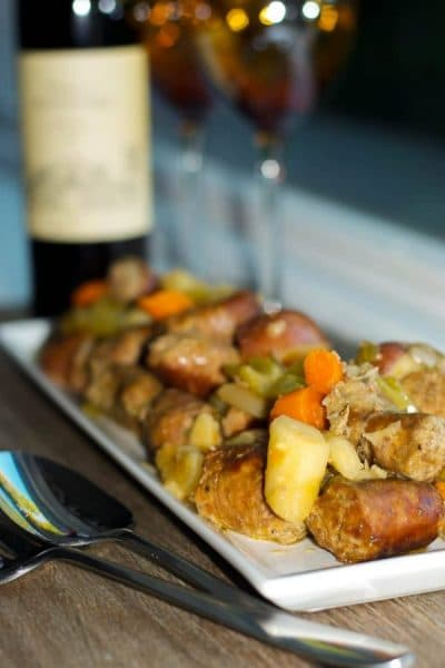 This all in one Slow Cooker Italian Sausage Stewmade with sweet Italian sausage, root vegetables, rosemary and potatoes in a white wine broth is the perfect dinner on a cold night.