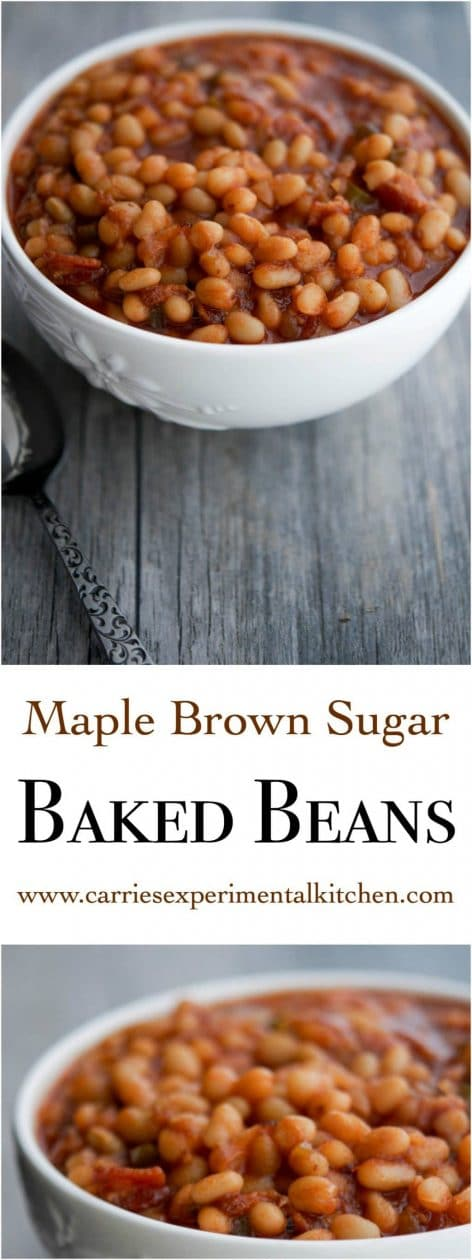 Maple Brown Sugar Baked Beans made with navy beans, maple syrup, brown sugar, peppers and onions are the perfect addition to your Summer BBQ plans. #sides #bbq #sidedish #beans