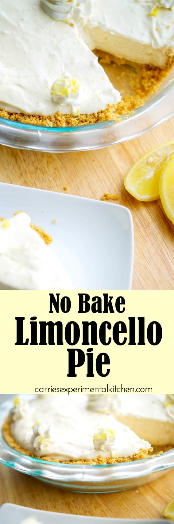 No Bake Limoncello Pie is deliciously light and lemony. A perfect dessert option without using much needed oven space during the holidays. #limoncello #lemon #pie #dessert #nobake