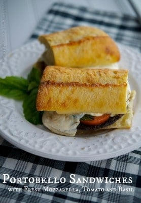 Portobello Sandwiches with Fresh Mozzarella, Tomato & Basil | Carrie's Experimental Kitchen #sandwich #meatless #vegetarian