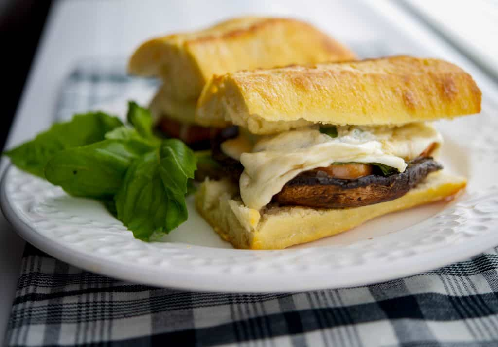Portobello Sandwiches with Fresh Mozzarella, Tomato & Basil