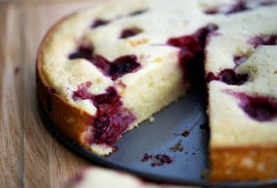 Raspberry Lemon Ricotta Cake Closeup