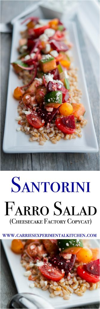 Satorini Farro Salad made with farro, beets, cucumbers, tomatoes, red onion and Feta cheese in a balsamic vinaigrette is filling with a depth of flavors.