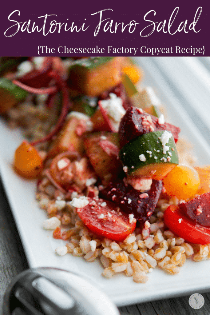 Santorini Farro Salad made with farro, beets, cucumbers, tomatoes, red onion and Feta cheese in a balsamic vinaigrette is filling with a depth of flavors.