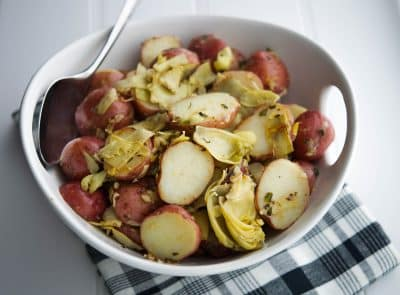 Sauteed Artichokes & Potatoes Closeup