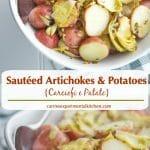 SautéedArtichokes & Potatoes or Carciofi e Patate in Italian; is a favorite side dish during an Italian Easter dinner.