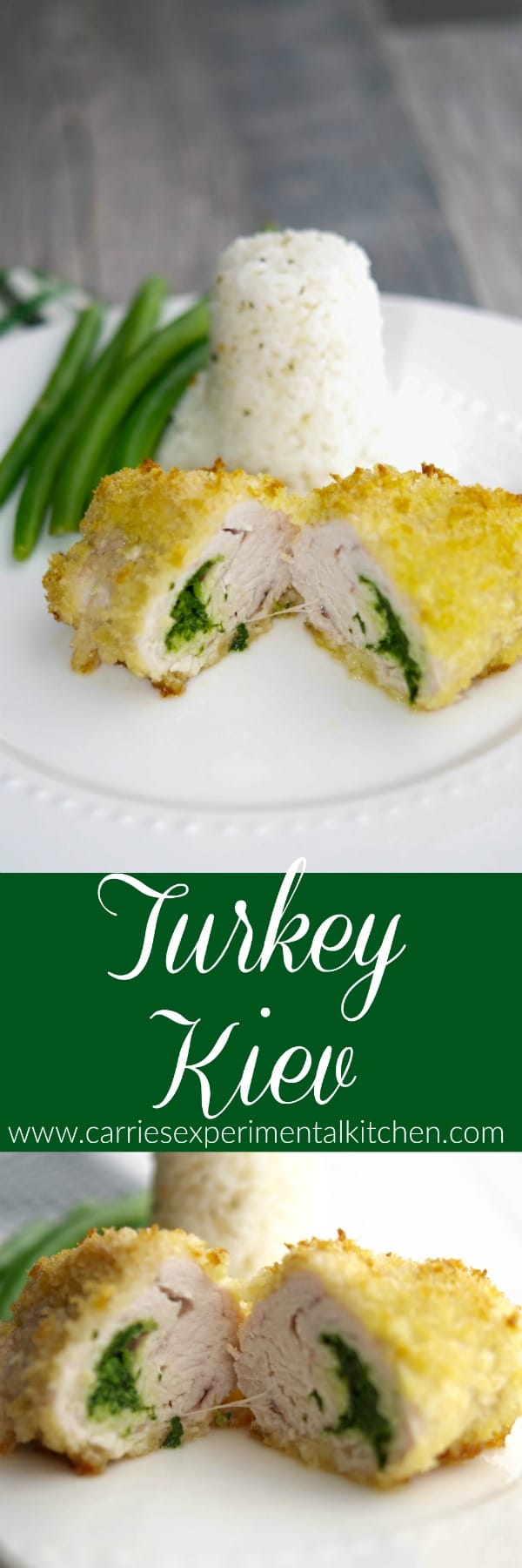 Turkey Kiev: Boneless turkey breast stuffed with a mixture of butter, fresh tarragon, and parsley; then coated with panko breadcrumbs and baked.