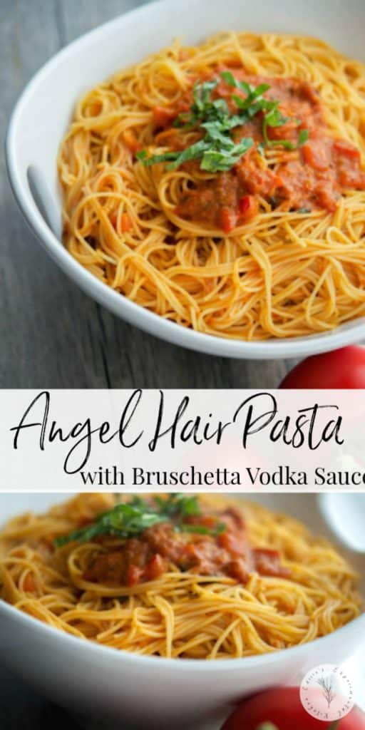 This recipe for Angel Hair Pasta with Bruschetta Vodka Sauce is so simple to make. Make it fresh, utilize leftovers or take some shortcuts and use already prepared products for a quick and delicious weeknight meal the entire family will love.
