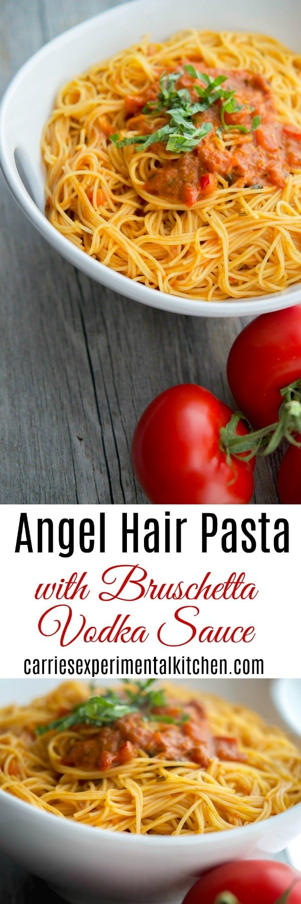 This recipe for Angel Hair Pasta with Bruschetta Vodka Sauce is so simple to make. Make it fresh, utilize leftovers or take some shortcuts and use already prepared products for a quick and delicious weeknight meal the entire family will love. #pasta #tomatoes #italianfood