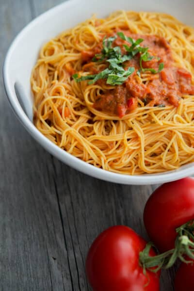 Angel Hair Pasta with Bruschetta Vodka Sauce made with pre-made bruschetta makes a deliciously quick and easy weeknight meal.
