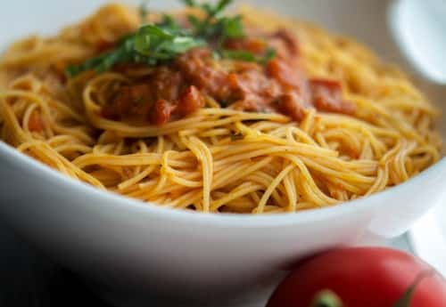 Angel Hair Pasta with Bruschetta Vodka Sauce-Horizontal
