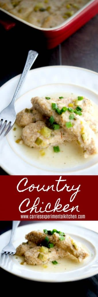 This recipe for Country Chicken made with breadcrumbs, butter, scallions and white wine is delicious and perfect for a crowd.
