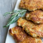 Parmesan Rosemary Pork Cutlets made with Italian flavored breadcrumbs, grated Parmesan cheese and fresh rosemary.