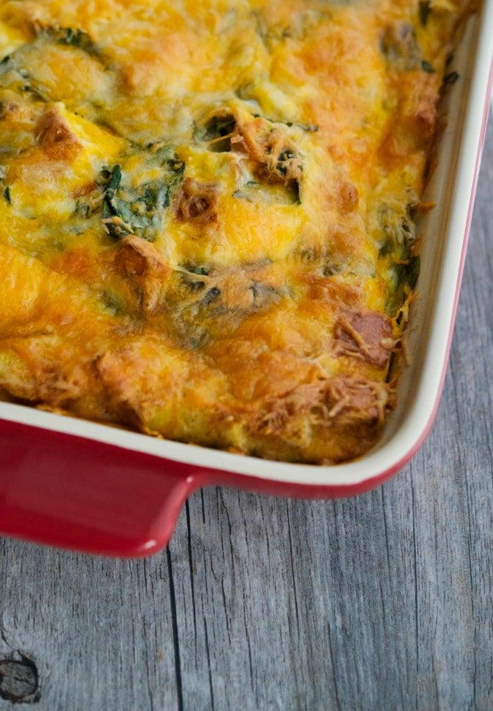 Spinach Artichoke Breakfast Strata_