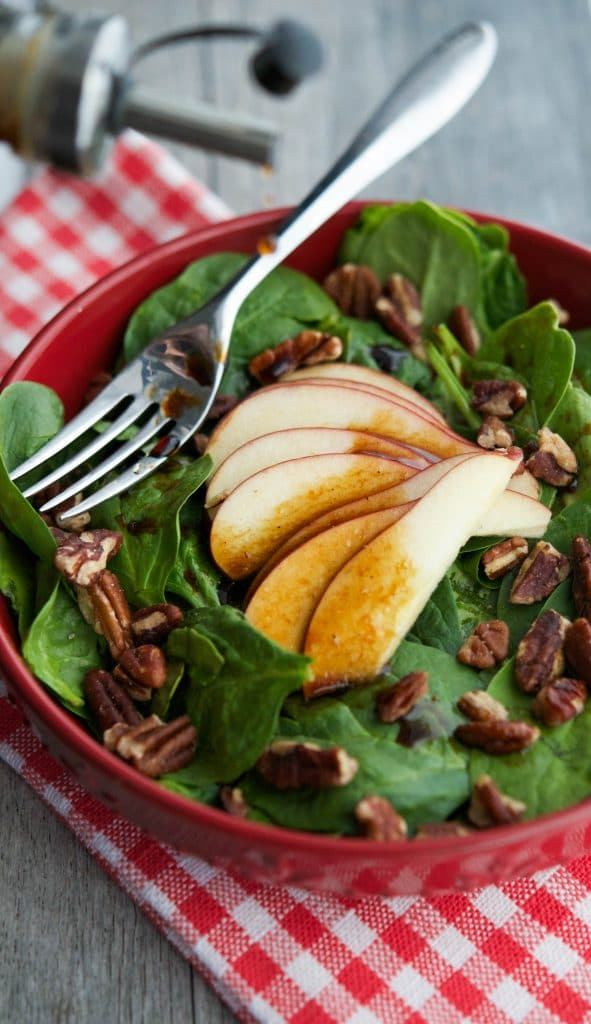 Spinach Salad with Apples & Pecans in an Apple Balsamic Vinaigrette